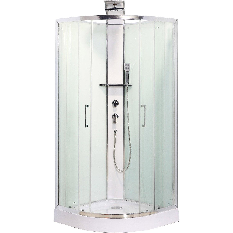 Cabine de douche 1 4 de cercle 90x90 cm remix leroy merlin - Notice cabine de douche ...