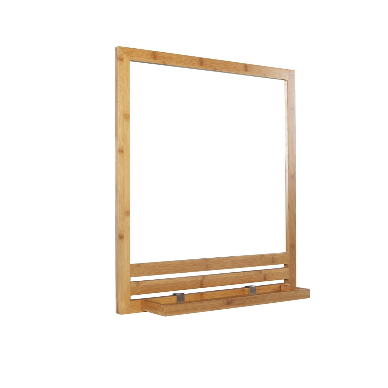Miroir avec tablette cm natural leroy merlin - Miroir salle de bain avec etagere ...