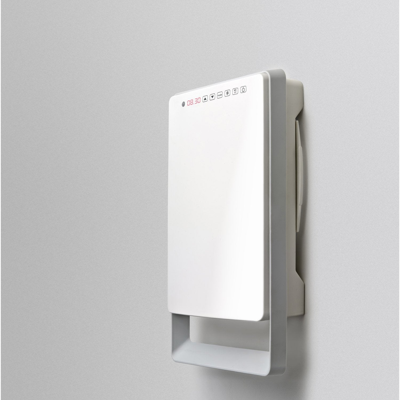 Radiateur soufflant salle de bain fixe lectrique aurora touch gris 1800 w leroy merlin for Radiateur electrique soufflant