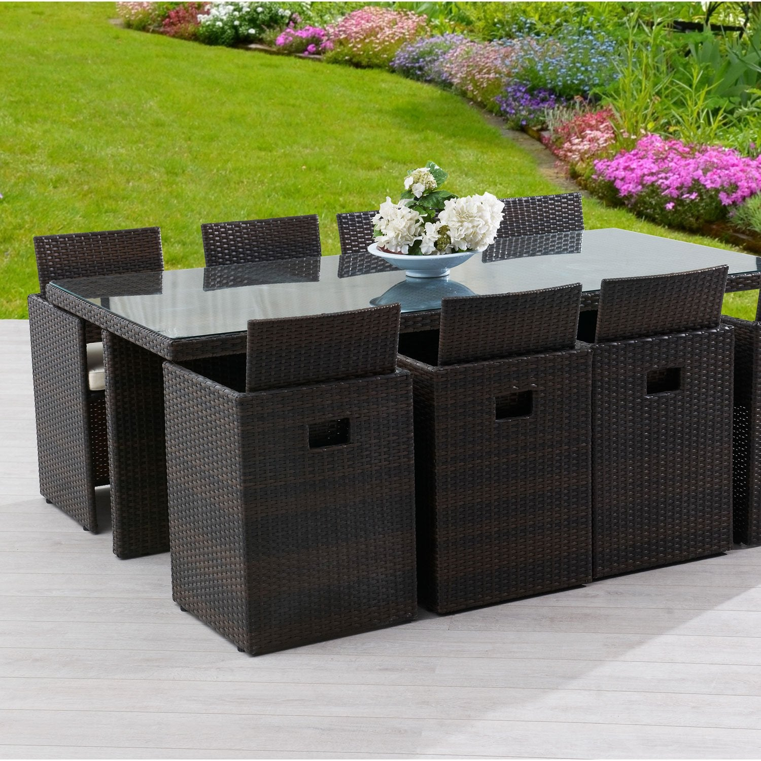 Salon de jardin encastrable r sine tress e marron 1 table for Ensemble jardin bois pas cher