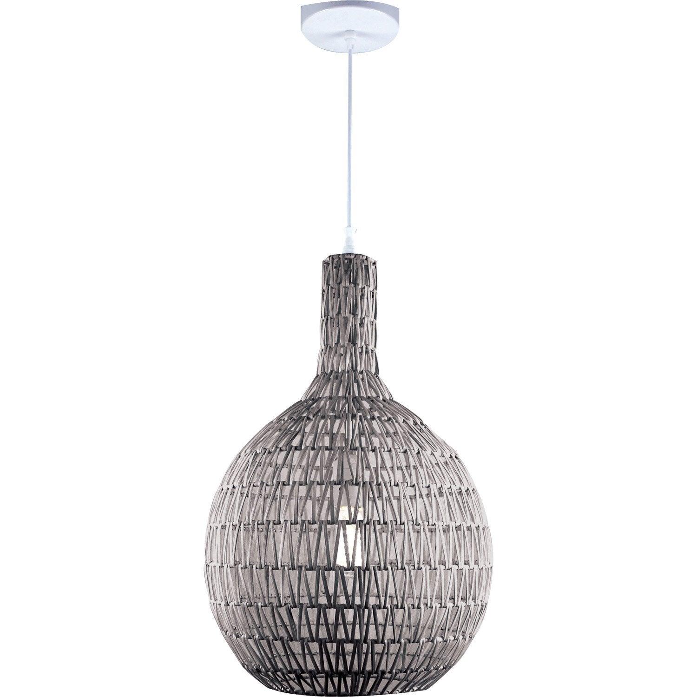 suspension nature rodia rotin gris 1 x 60 w lussiol. Black Bedroom Furniture Sets. Home Design Ideas