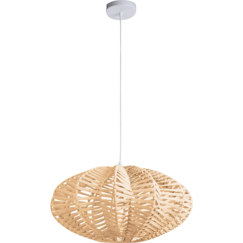 suspension nature aina rotin naturel 1 x 60 w lussiol. Black Bedroom Furniture Sets. Home Design Ideas
