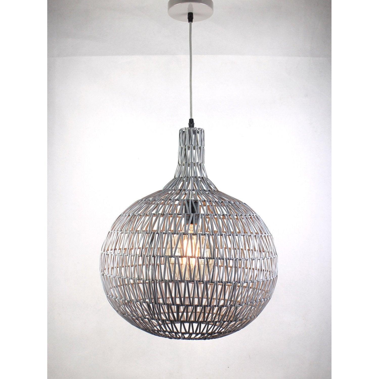 suspension nature hina rotin gris 1 x 60 w leroy merlin. Black Bedroom Furniture Sets. Home Design Ideas