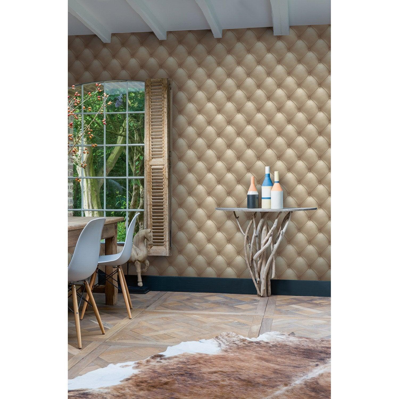 papier peint intiss capiton cuir cru leroy merlin. Black Bedroom Furniture Sets. Home Design Ideas