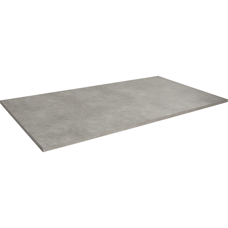 Plateau de table agglom r b ton x cm x mm leroy merlin - Table imitation beton ...
