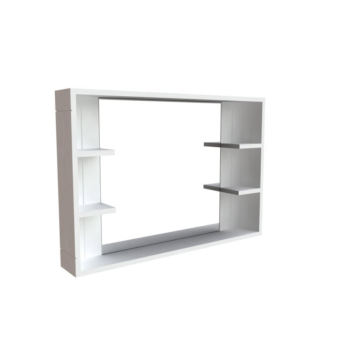 Miroir avec tablettes long island leroy merlin for Miroir tablette