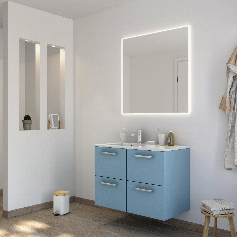 Meuble de salle de bains de 80 99 bleu neo line for Meuble salle de bain neo leroy merlin
