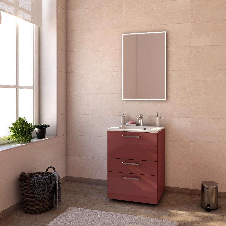 meuble de salle de bains de 60 79 rouge neo line leroy merlin - Salle De Bain Rouge Leroy Merlin