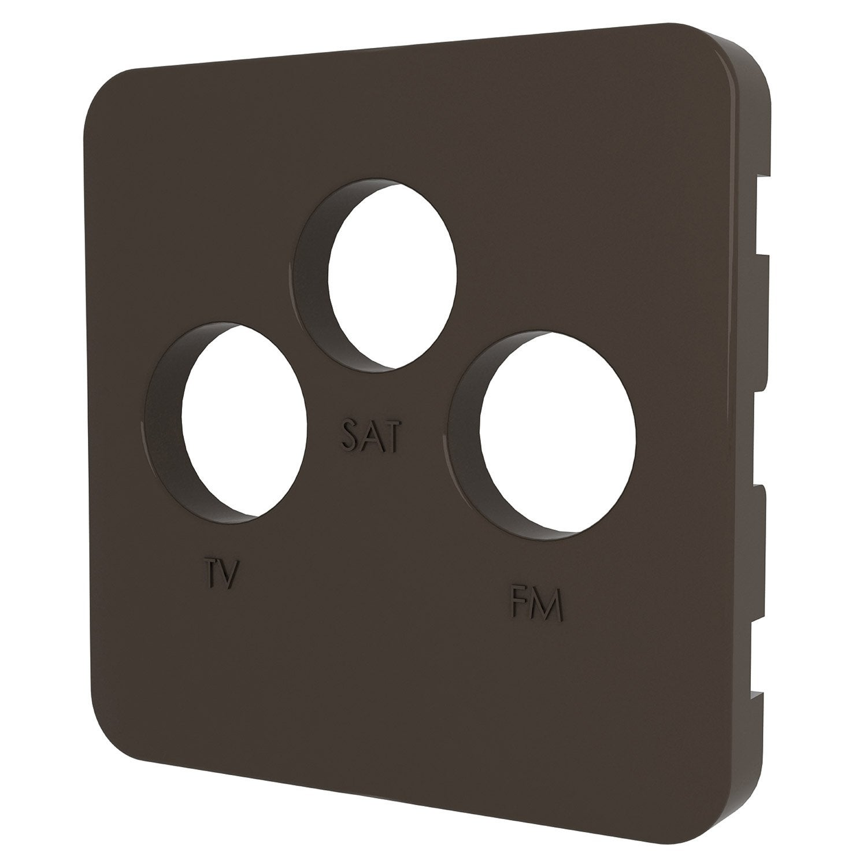cache prise tv fm sat cosy lexman brun chocolat n 1 leroy merlin. Black Bedroom Furniture Sets. Home Design Ideas