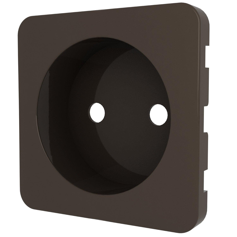 cache prise sans terre cosy lexman brun chocolat n 1 leroy merlin. Black Bedroom Furniture Sets. Home Design Ideas