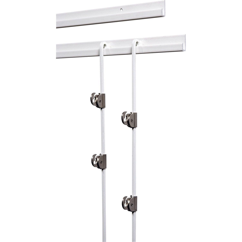 Cimaise Bois Murale : Kit cimaise complet laqu? blanc pour suspension tableaux, 1.5 m