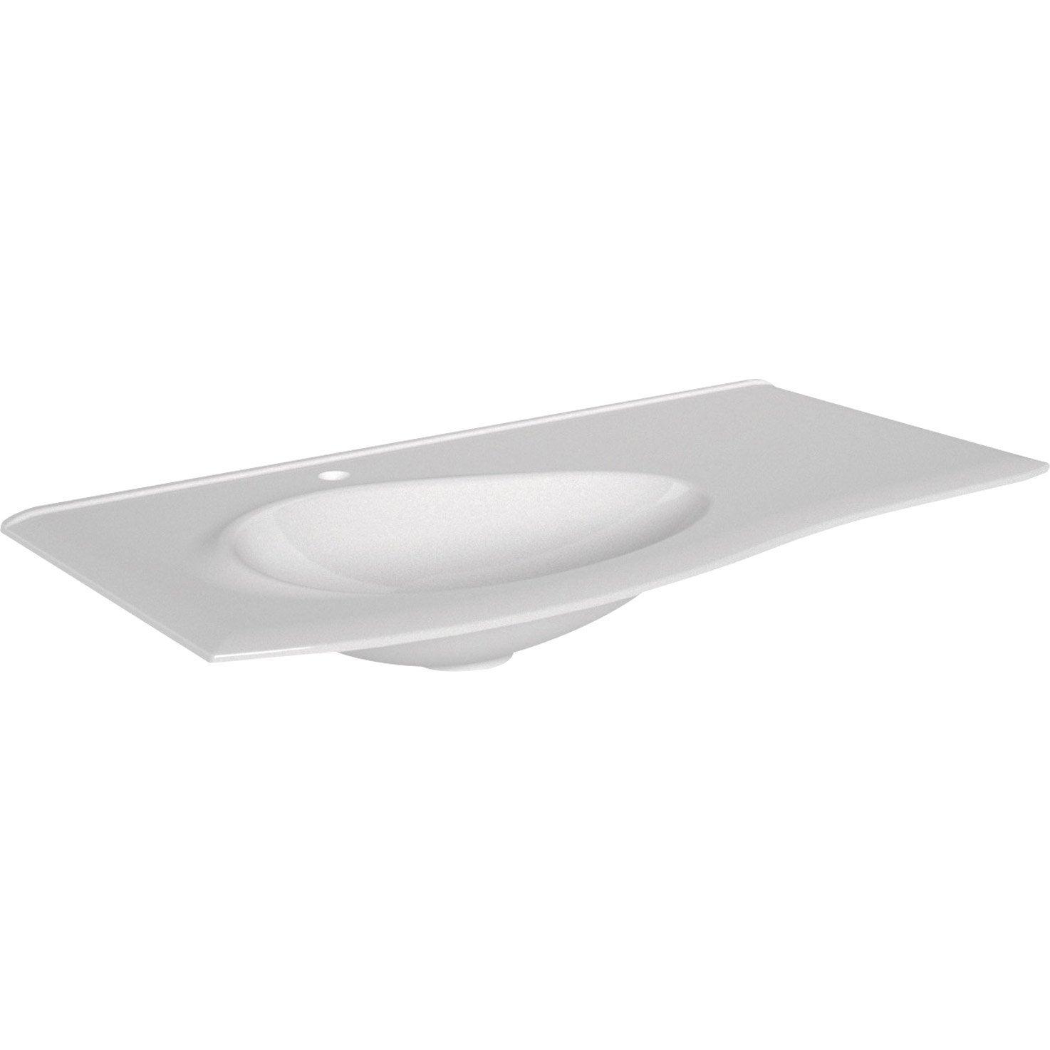 Plan Vasque 1 Robinet Resine 100 Cm : Plan vasque simple elegance résine de synthèse cm