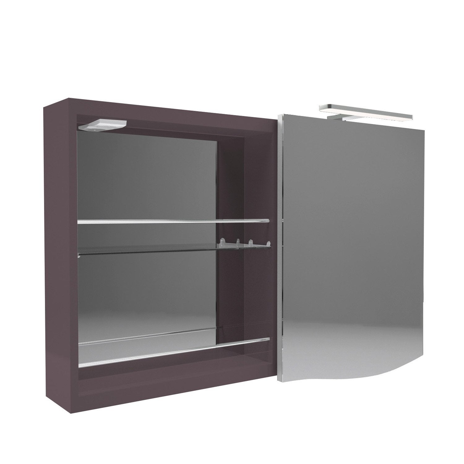 armoire de toilette lumineuse l 100 cm marron decotec. Black Bedroom Furniture Sets. Home Design Ideas