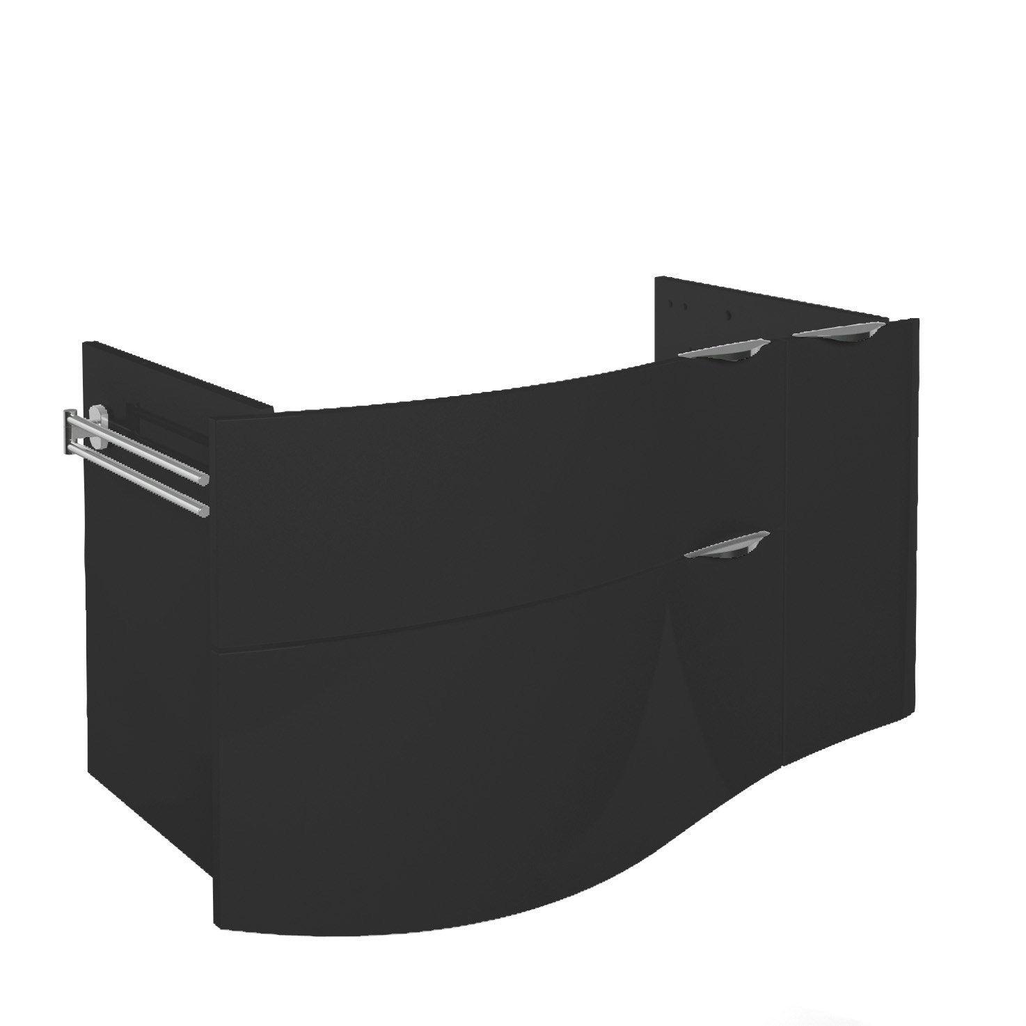Meuble sous vasque x x cm noir for Meuble double vasque 100 cm leroy merlin