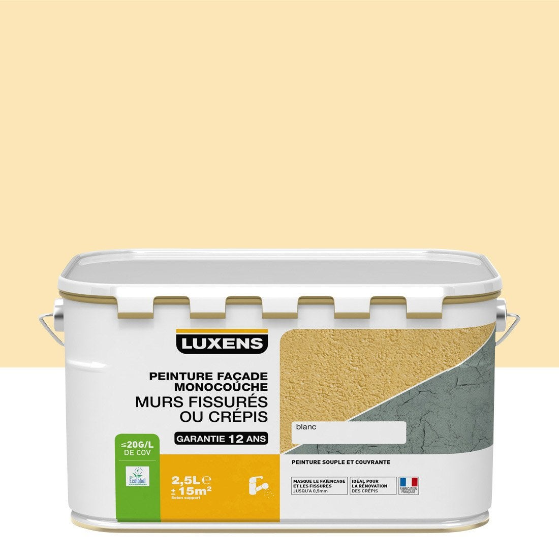 Peinture fa ade murs fissur s luxens pierre 2 5 l for Peinture facade couleur