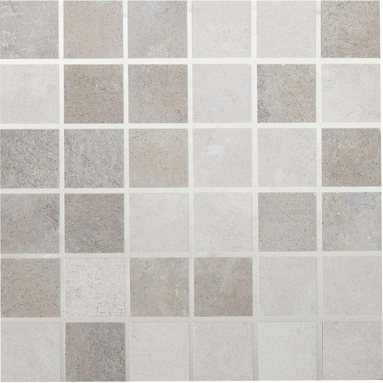 Mosa que life artens mix gris blanc 5x5 cm leroy merlin for Carrelage 5x5 blanc