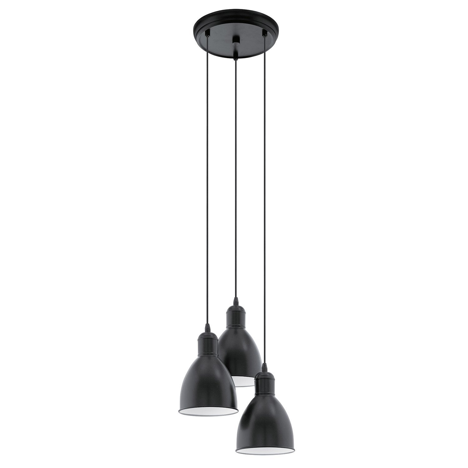 Suspension industriel priddy m tal noir 3 x 60 w eglo leroy merlin - Suspension industrielle noire ...
