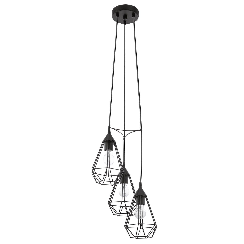 suspension e27 style industriel tarbes m tal noir 3 x 60 w eglo leroy merlin. Black Bedroom Furniture Sets. Home Design Ideas