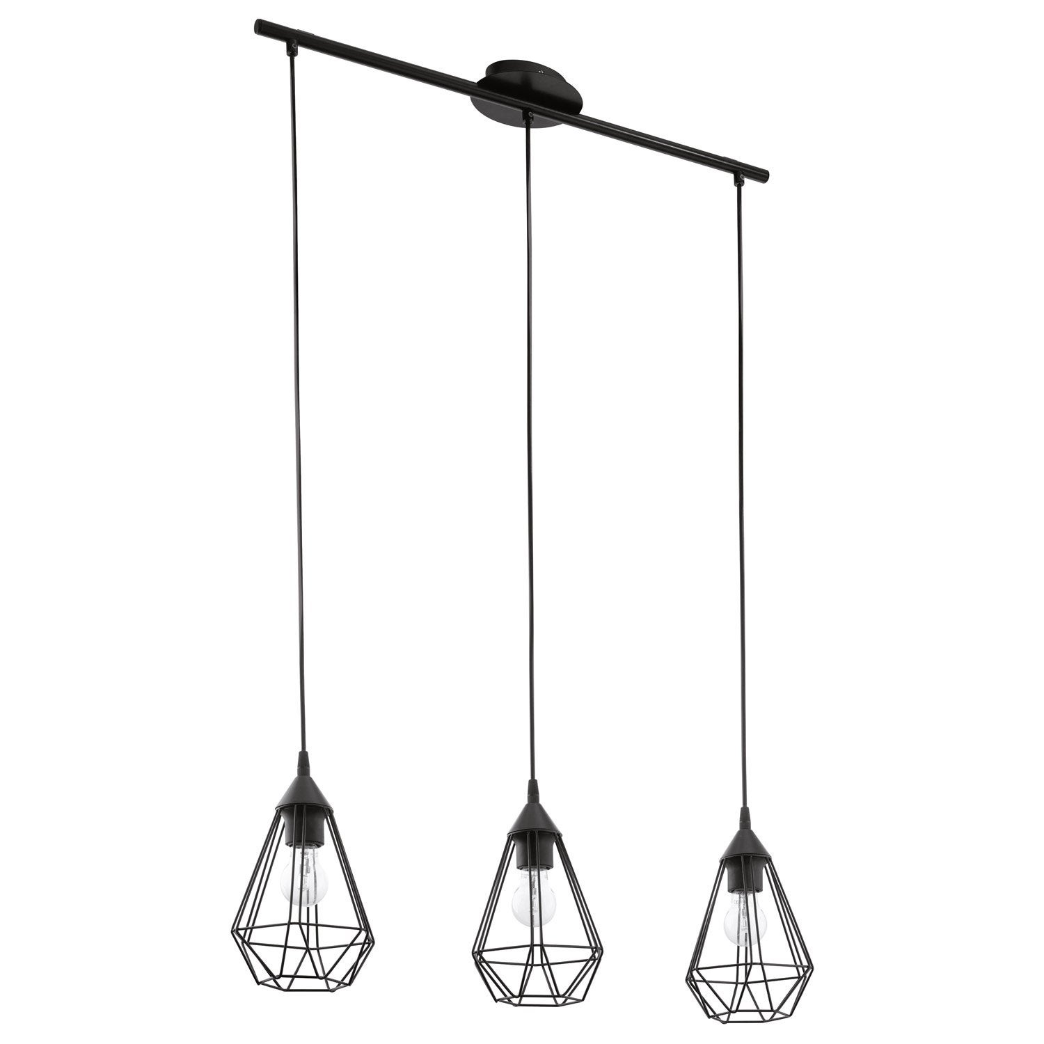Suspension industriel tarbes m tal noir 3 x 60 w eglo for Suspension luminaire filaire