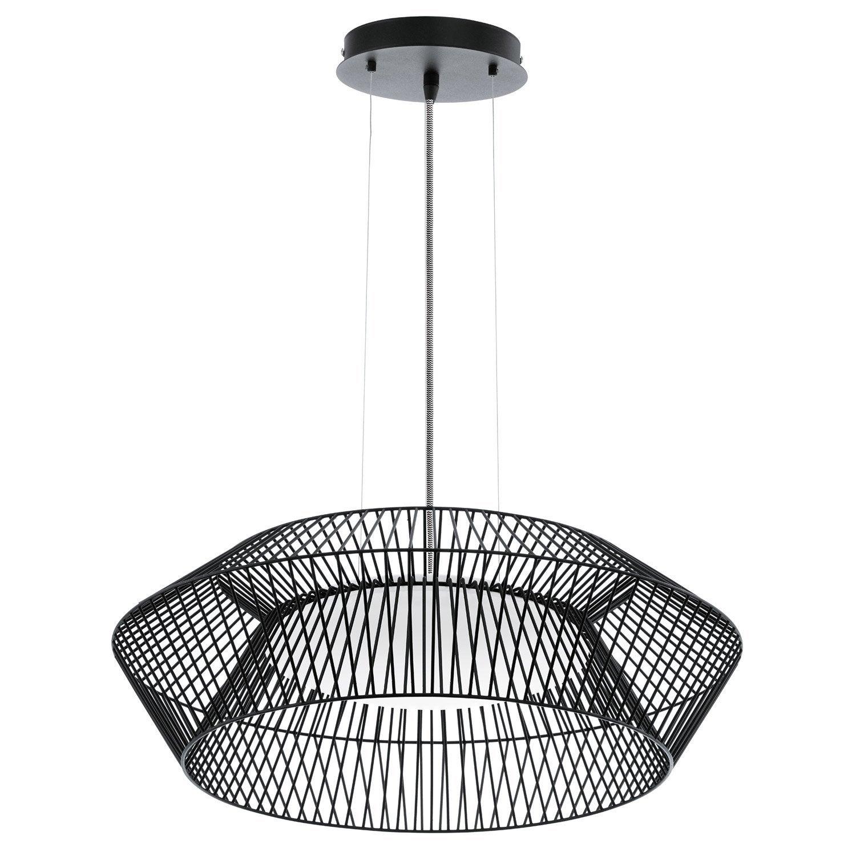suspension contemporain piastre m tal noir 1 x 18 w eglo. Black Bedroom Furniture Sets. Home Design Ideas