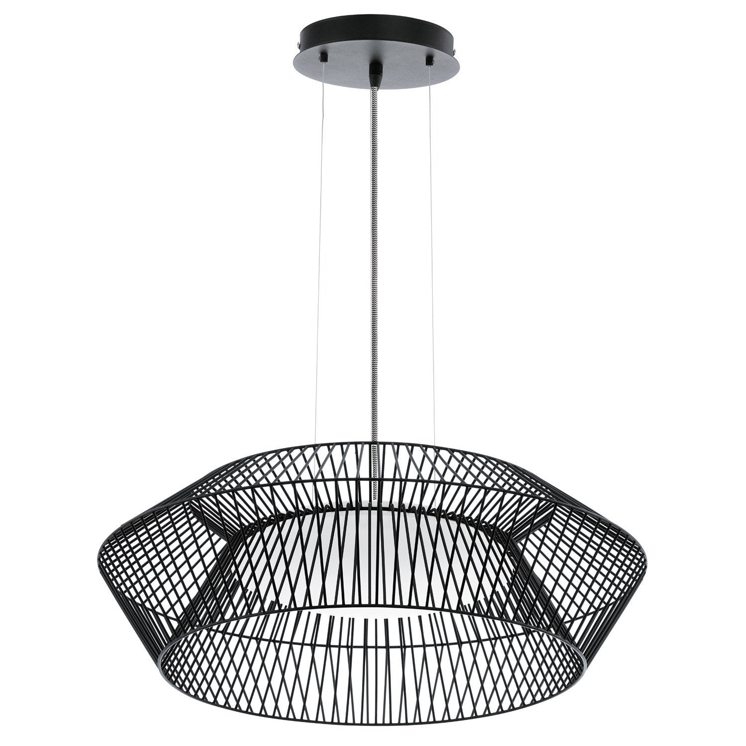 Suspension design piastre m tal noir 1 x 18 w eglo leroy merlin - Suspension new york leroy merlin ...