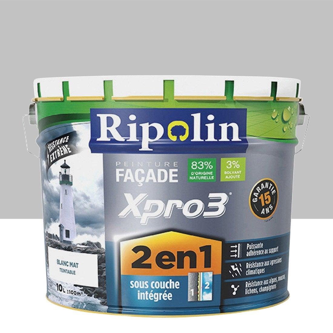 Peinture fa ade 2en1 xpro3 ripolin gris granit 10 l for Peinture mur gris anthracite