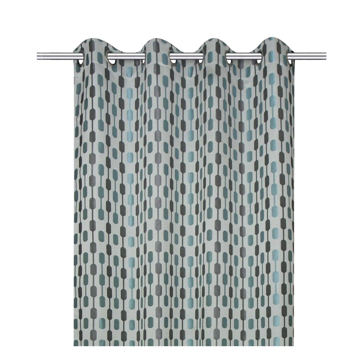 rideau diabolo gris bleu x cm inspire leroy merlin. Black Bedroom Furniture Sets. Home Design Ideas