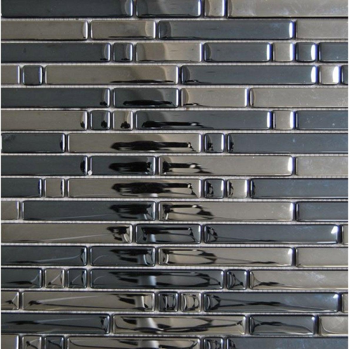 Mosa que mur ice tendance anthracite 1 5 leroy merlin - Mosaique autocollante pour cuisine ...