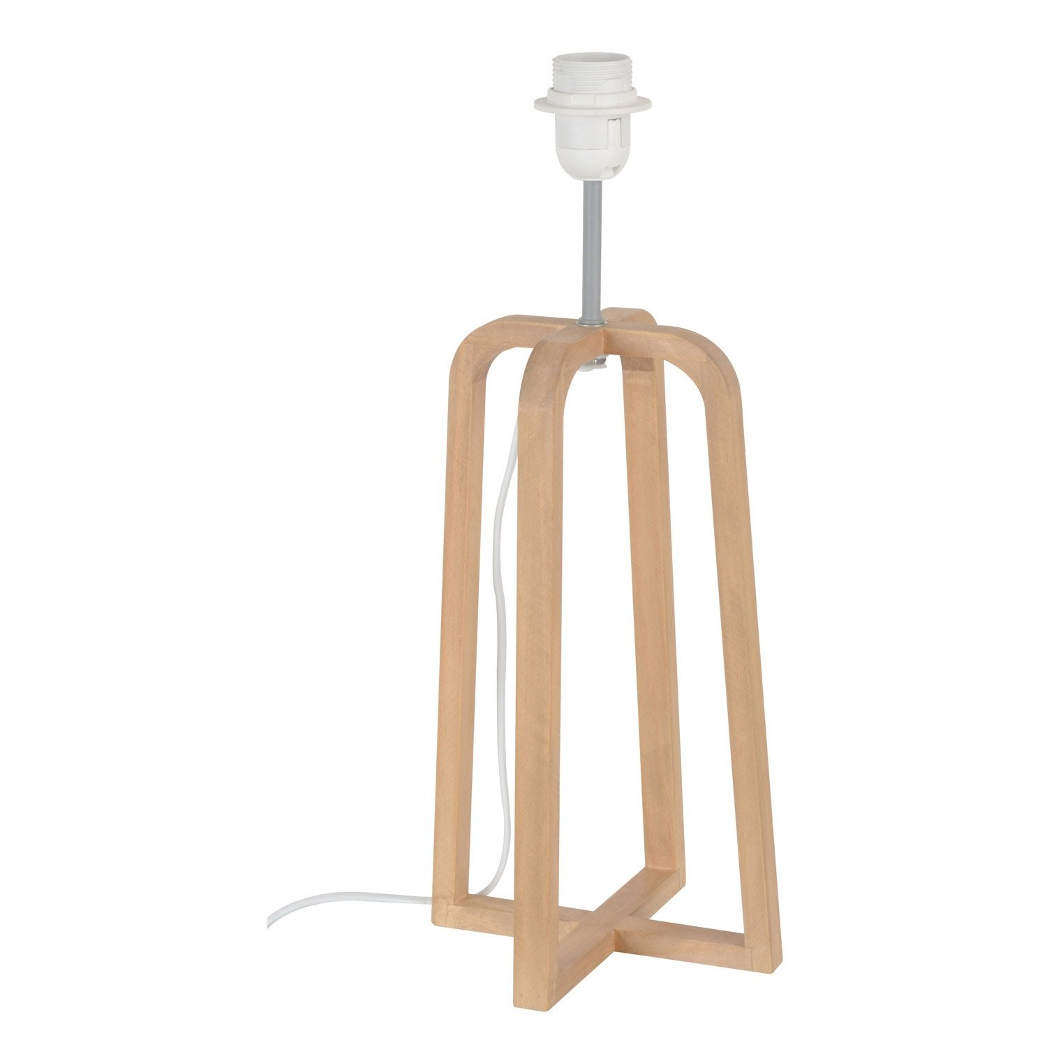 Pied de lampe scandinave bois naturel 46 cm leroy merlin for Lampe piscine bois