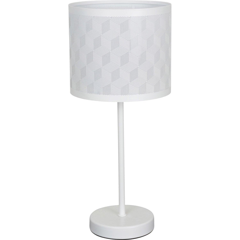 Lampe geo corep m tal blanc 60 w leroy merlin - Lampe galet leroy merlin ...