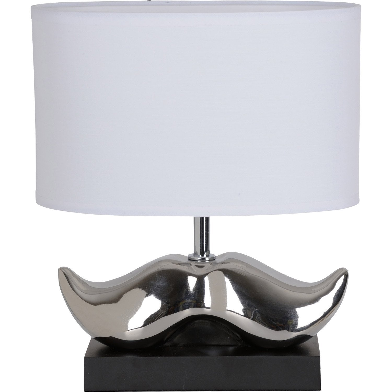 lampe moustache corep coton blanc 40 w leroy merlin. Black Bedroom Furniture Sets. Home Design Ideas