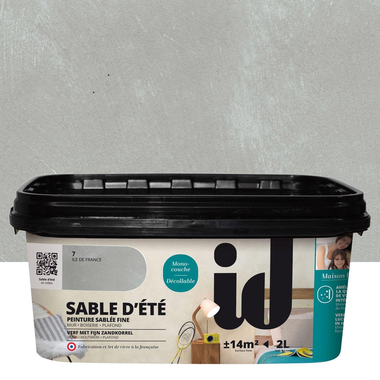 Peinture effet sable d 39 t id gris ile de france 2 l - Peinture grise leroy merlin ...