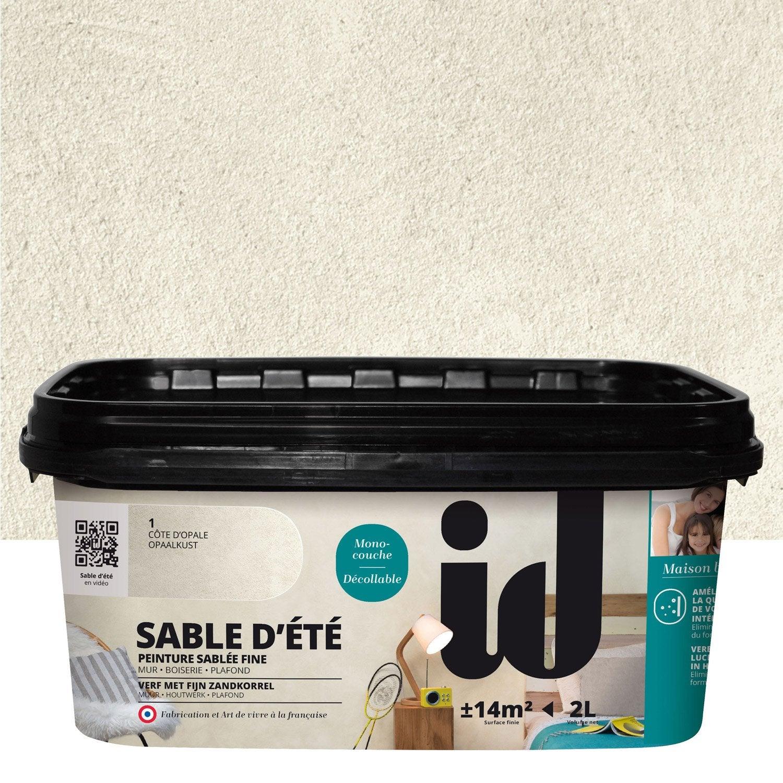 Peinture effet sable dut id beige cte duopale l leroy - Peinture blanche pailletee ...