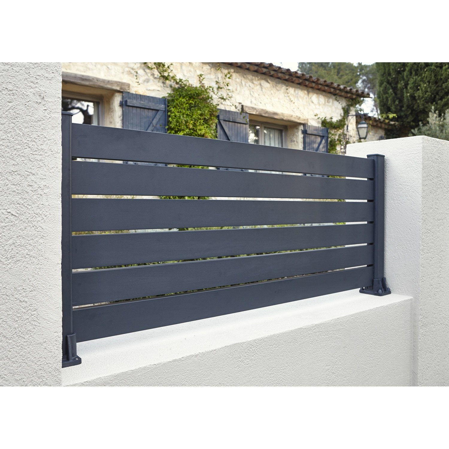 Lame de cl ture aluminium klos 39 up naterial gris zingu h for Cloture aluminium noir