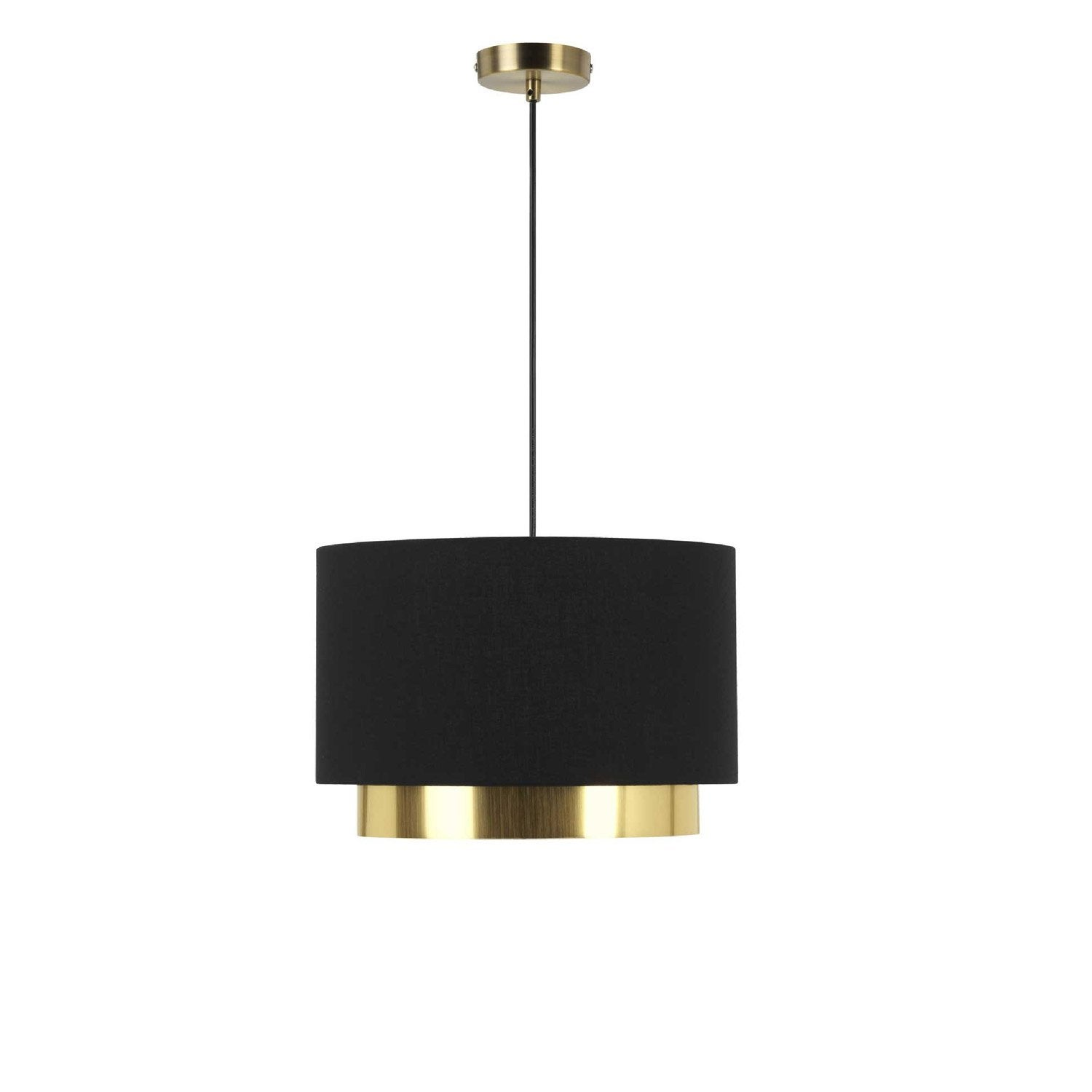 Suspension design dana tissus noir et dor 1 x 23 w mathias leroy merlin - Suspension salon design ...