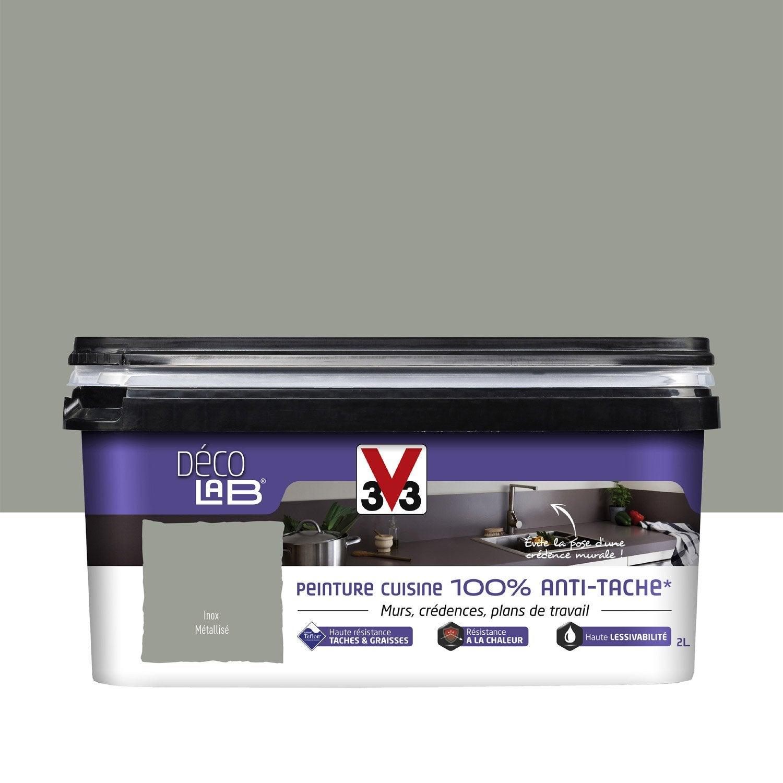Peinture 100 antitache v33 inox 2 l leroy merlin for Peinture v33 pour cuisine