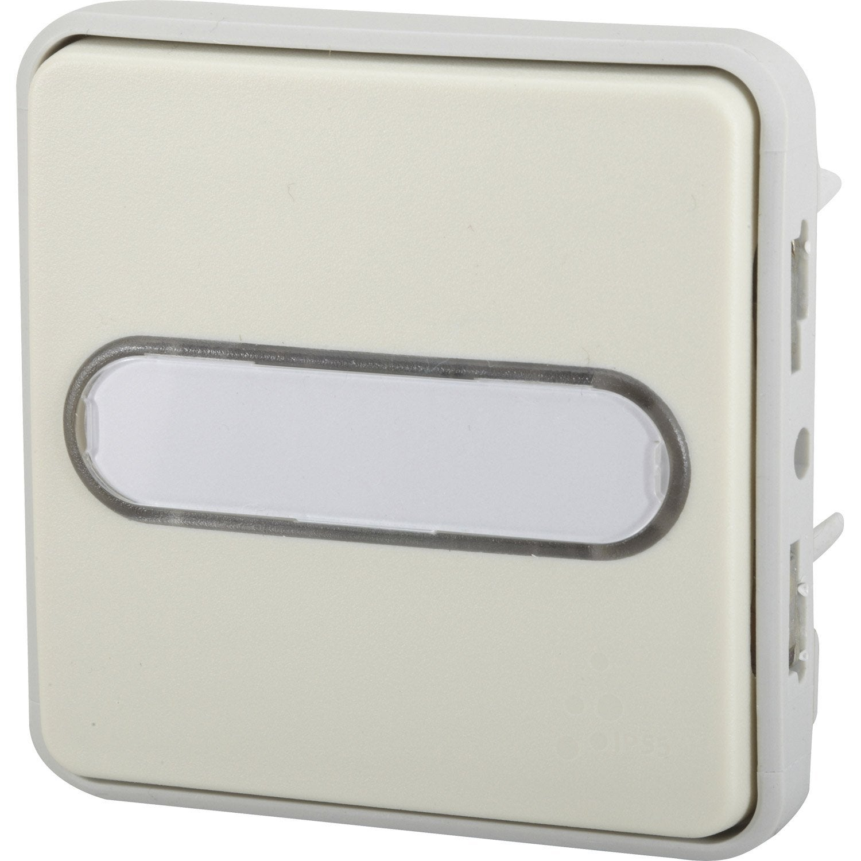 Poussoir porte tiquette tanche voyant lumineux for Interrupteur exterieur legrand