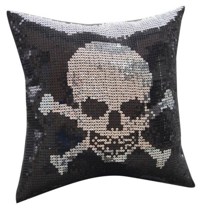 coussin t te de mort noir et argent x h 4 cm leroy merlin. Black Bedroom Furniture Sets. Home Design Ideas