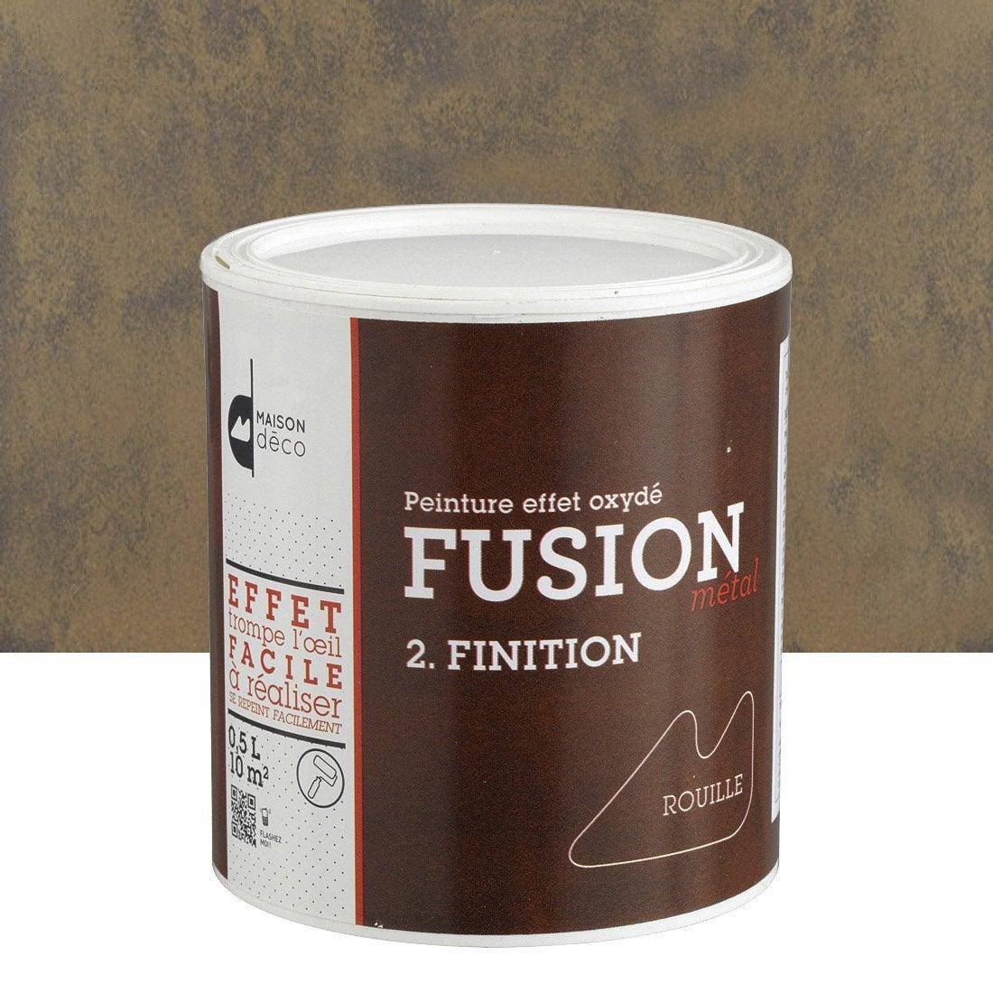Peinture effet fusion m tal maison deco effet rouille 0 5 l leroy merlin for Peinture effet beton sur bois