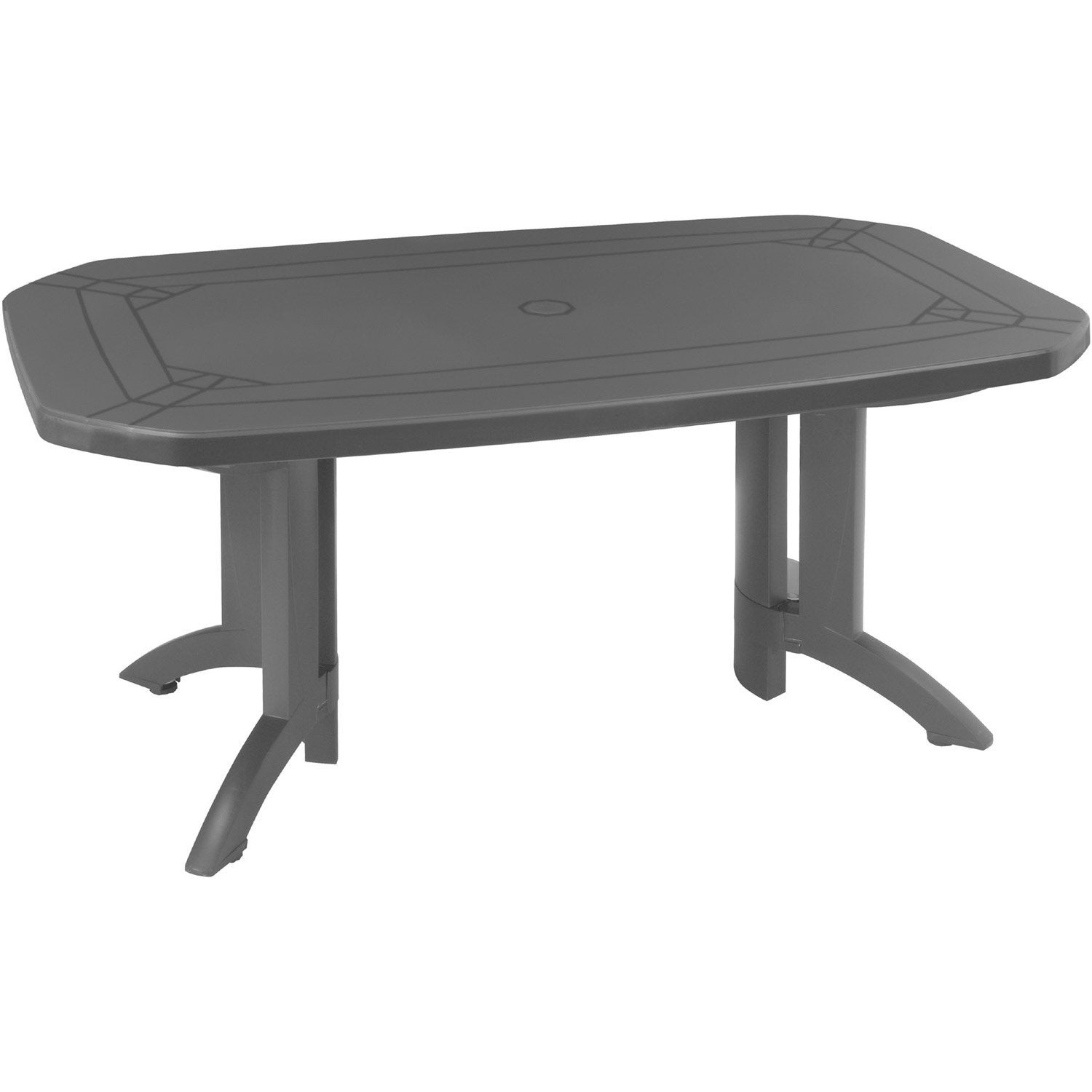 Table De Jardin Grosfillex V Ga Rectangulaire Anthracite 6 Personnes Leroy Merlin