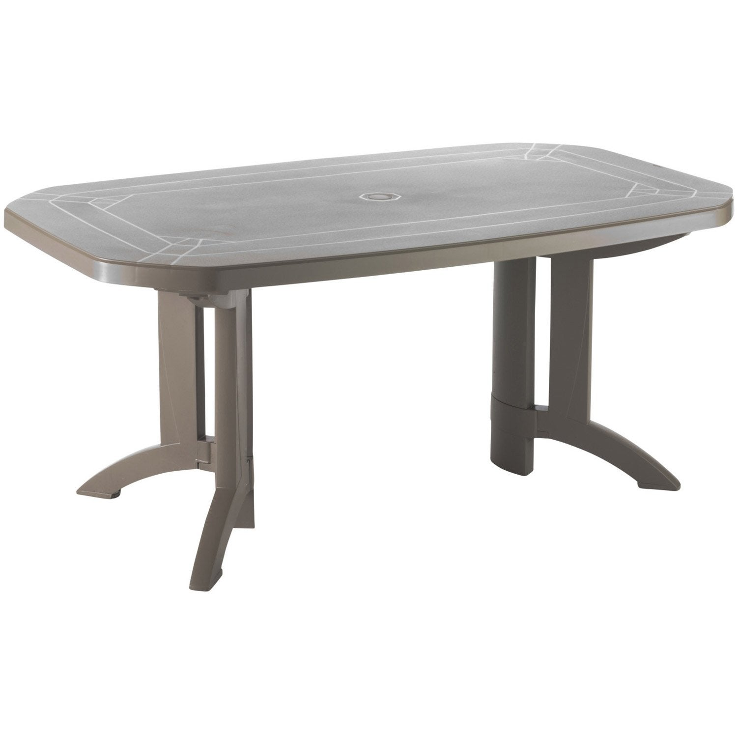 Table De Jardin Grosfillex V Ga Rectangulaire Taupe 6 Personnes Leroy Merlin