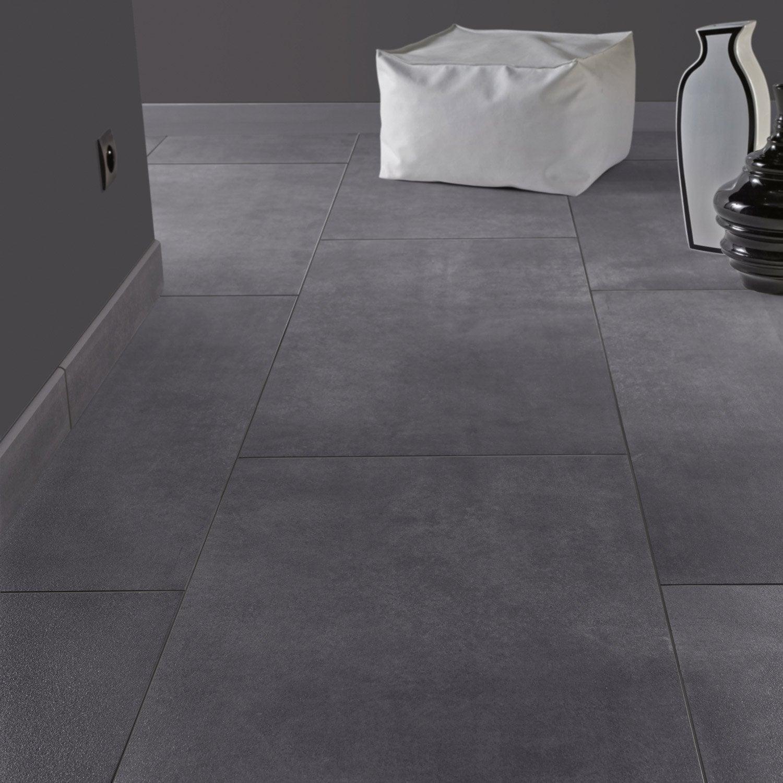 Carrelage sol et mur gris smoke effet b ton live leroy for Carrelage gris beton
