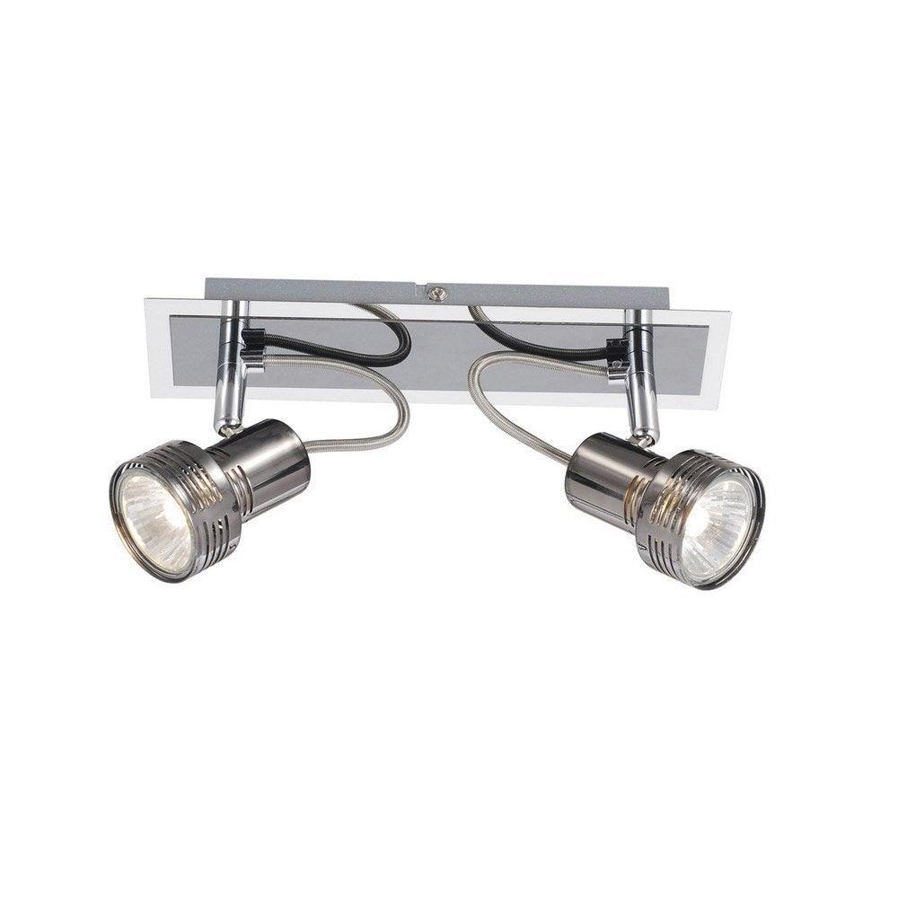 rampe 2 spots sans ampoule 2 x gu10 chrome noir bila inspire leroy merlin. Black Bedroom Furniture Sets. Home Design Ideas