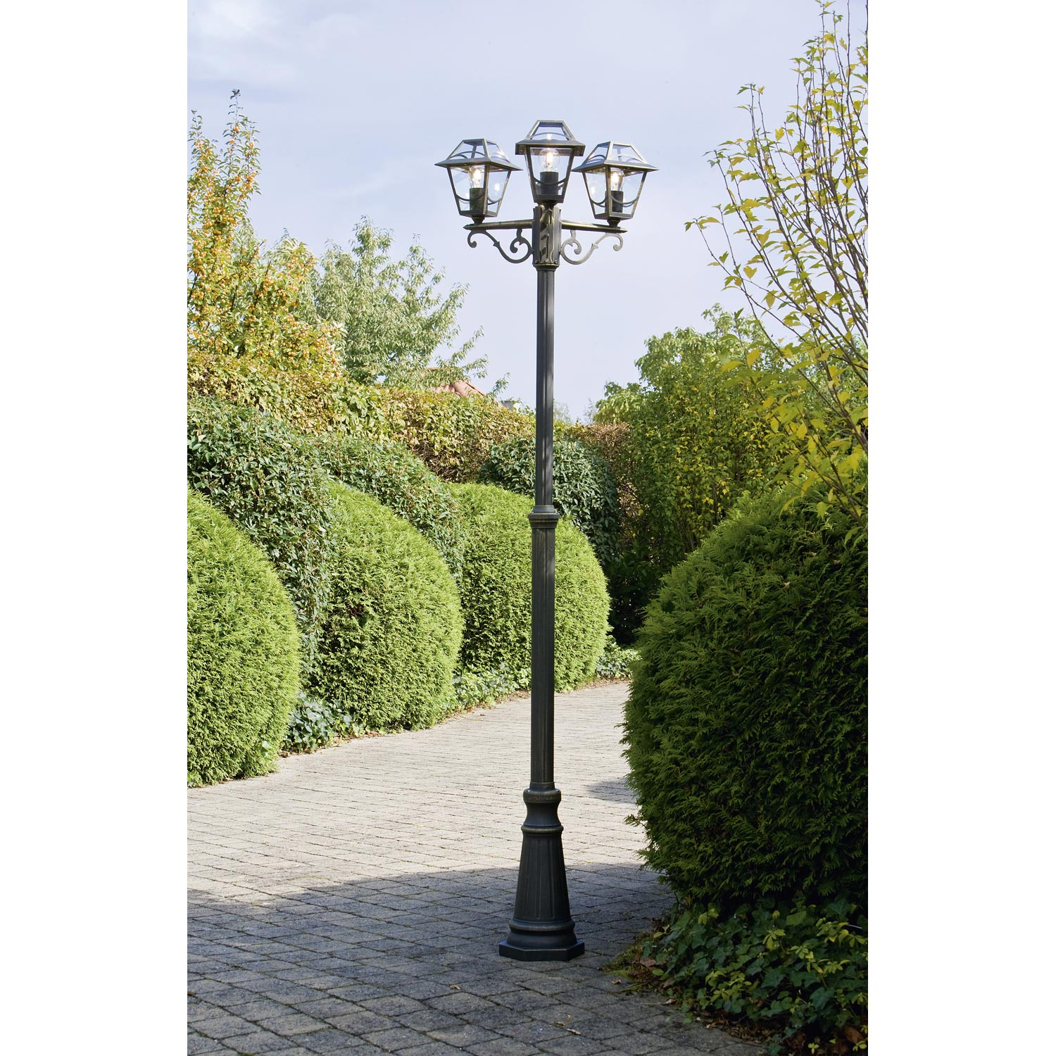 Lampadaire ext rieur babylon e27 noir or philips leroy for Candelabre exterieur