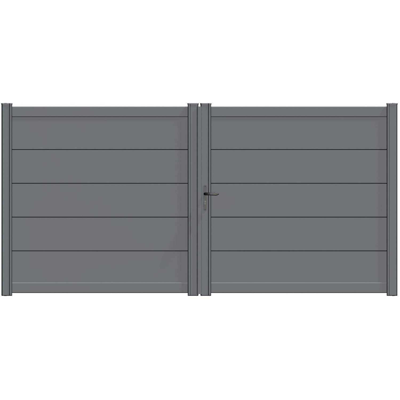 Portail battant aluminium hezo gris naterial cm x cm leroy merlin for Portail battant alu gris