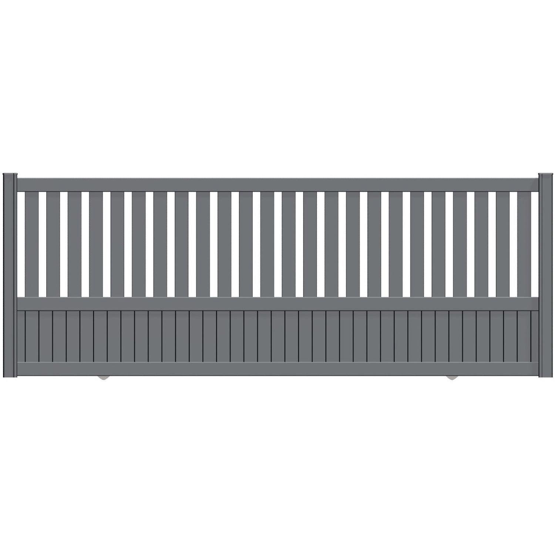 portail coulissant aluminium penmarch gris naterial cm cm cm leroy merlin. Black Bedroom Furniture Sets. Home Design Ideas