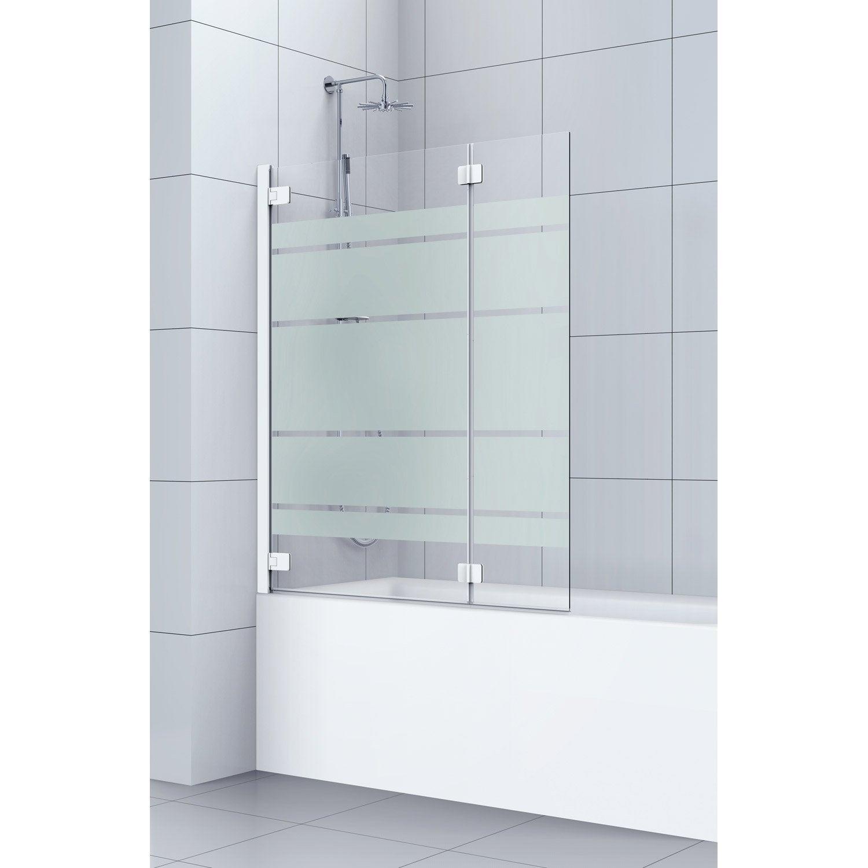Pare baignoire 2 volets pivotant pliant 150x120 cm verre s cu s rigraphi cha - Baignoire ou douche pour vendre ...