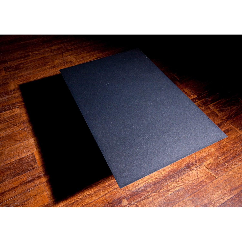 Plaque de protection sol acier laqu poxy noir sabl equation x h 0 2 cm leroy merlin - Protection plaque de cuisson castorama ...