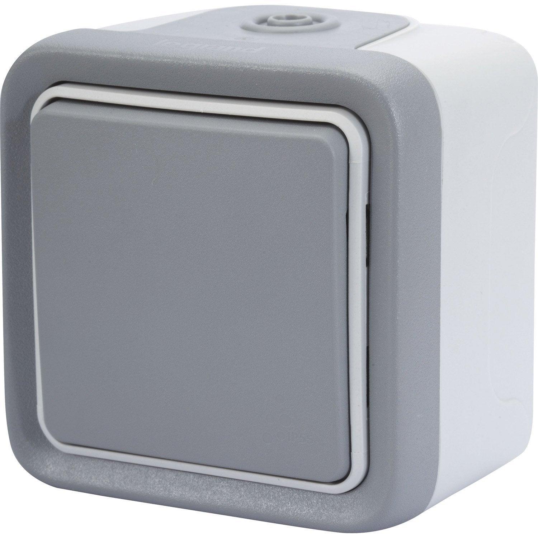 interrupteur va et vient tanche legrand plexo gris leroy merlin. Black Bedroom Furniture Sets. Home Design Ideas