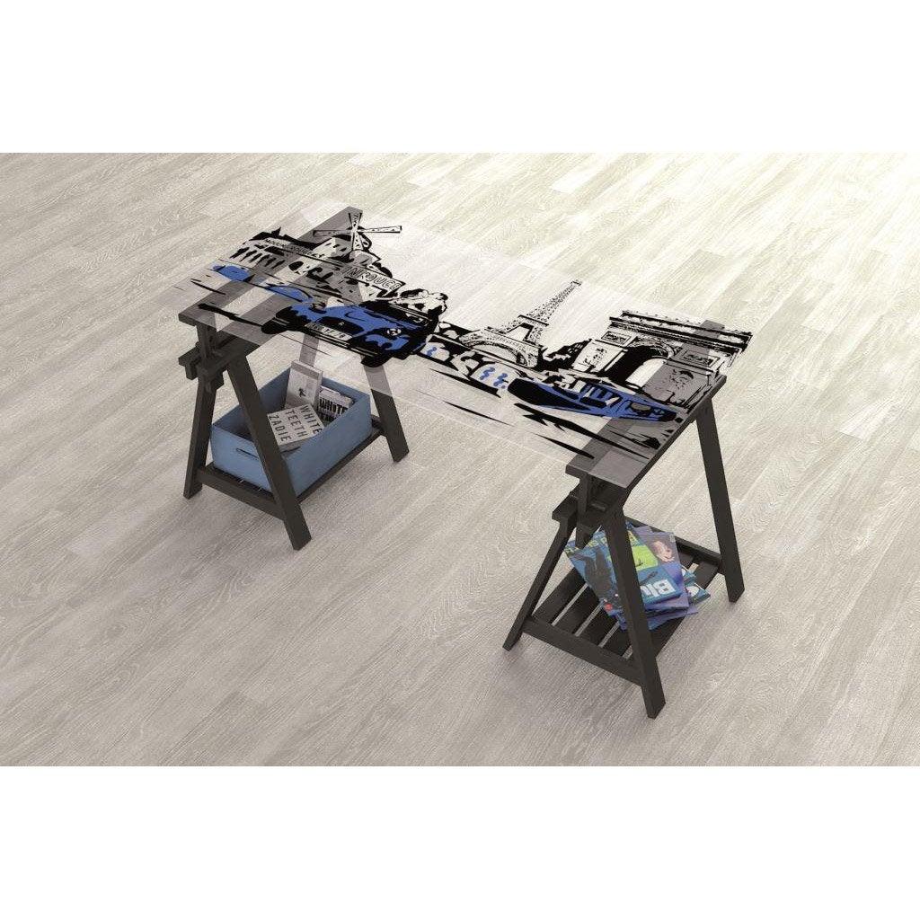 Plateau de table verre 140 x 72 cm 8 mm leroy merlin for Plateau de bureau en verre serigraphie